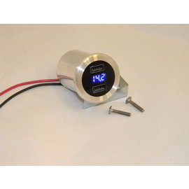 Dual - USB Charger/Volt Meter - Brushed - IT-USB