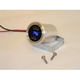 Dual - USB Charger/Volt Meter - Polished - IT-USBP