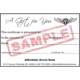 Affordable Street Rods Affordable Street Rods Gift Certificate