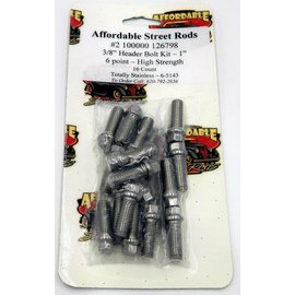 """Totally Stainless 3/8"""" x 1"""" Stainless Header Bolt Kit - 6 Point - High Strength (16 Count) - 6-5143"""