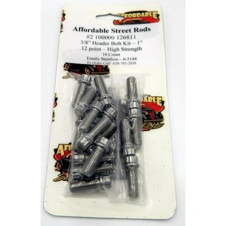 """Totally Stainless 3/8"""" x 1"""" Stainless Header Bolt Kit - 12 Point - High Strength (16 Count) - 6-5144"""