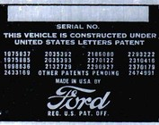 Ford VIN Tags