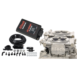 FiTech Go EFI 2x4 System (Bright Aluminum Finish) Master Kit w/ Inline Fuel Pump, w/CDI box - 93161