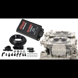 FiTech Go EFI 2x4 System (Bright Aluminum Finish) Master Kit w/ Inline Fuel Pump, w/CDI box - 93161