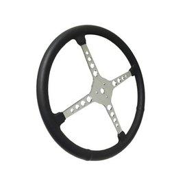 "Limeworks Sprint Steering Wheel - 15"" Black Leather - 4 Spoke w/Holes - ST3017"