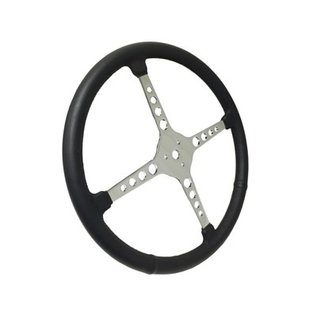 "Sprint Steering Wheel - 15"" Black Leather - 4 Spoke w/Holes - ST3017"