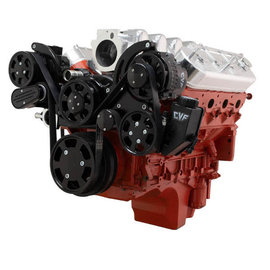 CVF Racing Chevy LS Engine Mid Mount Serpentine Kit - A/C, Power Steering & Alternator