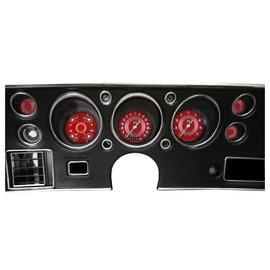 Classic Instruments Classic Instruments 70-72 Chevelle SS Instruments - V8 Red Steelie - Std. Speedo - CV70V8RS