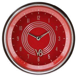 "Classic Instruments 3 ⅜"" Clock - V8 Red Steelie Series - V8RS93SHC"