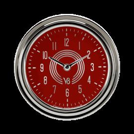 """Classic Instruments 2 ⅝"""" Clock - V8 Red Steelie - V8RS92SLC"""