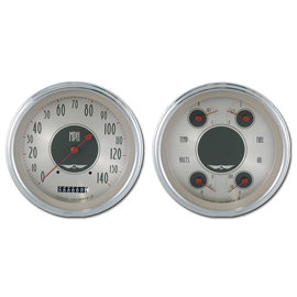 "Classic Instruments 4 5/8"" Speedo & Quad Two Gauge Set - All American Nickel Series - AN52SLC"