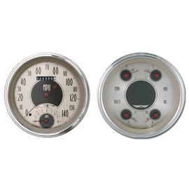 "Classic Instruments 2 Gauge Set - 4 5/8"" Speedtachular & Quad - All American Nickel Series - AN62SLC"