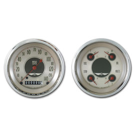 "Classic Instruments 3 3/8"" Speedo & Quad Two Gauge Set - All American Nickel Series - AN02SHC"
