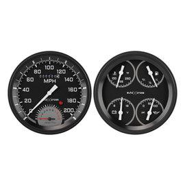 "Classic Instruments 2 Gauge Set - 4 5/8"" Speedtachular & Quad - Auto Cross Series Gray - AX62GBLF"