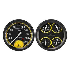 "Classic Instruments 2 Gauge Set - 4 5/8"" Speedtachular & Quad - Auto Cross Series Yellow - AX62YBLF"