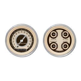 """Classic Instruments 2 Gauge Set - 3 3/8"""" Speedo & Quad - Nostalgia Series - NT02SHC"""