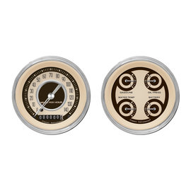 "Classic Instruments 3 3/8"" Speedo & Quad Two Gauge Set - Nostalgia Series - NT02SHC"