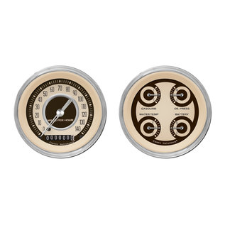 "Classic Instruments 3 3/8"" Speedo & Quad Two Gauge Set - Nostalgia Series - NT02SHC"
