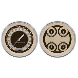 """Classic Instruments 2 Gauge Set - 4 5/8"""" Speedo & Quad - Nostalgia Series - NT52SLC"""