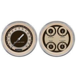 "Classic Instruments 4 5/8"" Speedo & Quad Two Gauge Set - Nostalgia Series - NT52SLC"