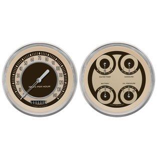 "Classic Instruments 4 5/8"" Speedo & Quad Two Gauge Set - Nostalgia Series - NT52SLC"