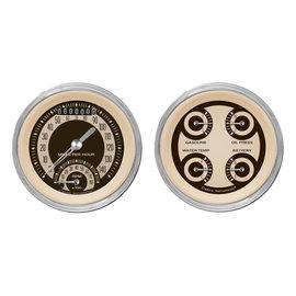 """Classic Instruments 2 Gauge Set - 3 3/8"""" Ultimate Speedo & Quad - Nostalgia Series - NT32SHC"""