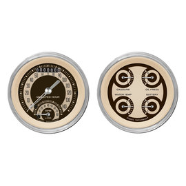 "Classic Instruments 3 ⅜"" Ultimate Speedo & Quad Two Gauge Set - Nostalgia Series - NT32SHC"