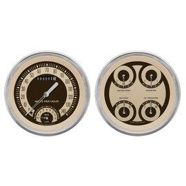 "Classic Instruments 2 Gauge Set - 4 5/8"" Speedtachular & Quad - Nostalgia Series - NT62SLC"