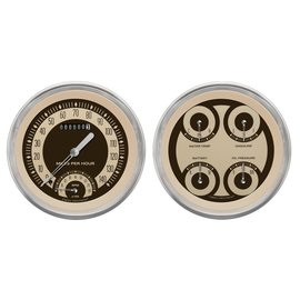 "Classic Instruments 4 5/8"" Speedtachular & Quad Two Gauge Set - Nostalgia Series - NT62SLC"