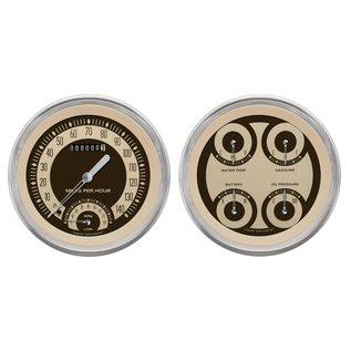 "Classic Instruments 4 5/8"" Speedtachular & Quad Two Gauge Set - Nostalgia Series - NT62SLC"