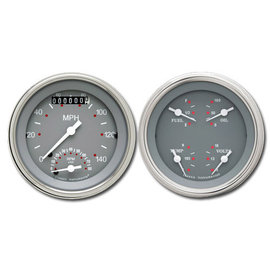 """Classic Instruments 3 3/8"""" Ultimate Speedo & Quad Two Gauge Set - Silver/Gray Series - SG32SLF"""