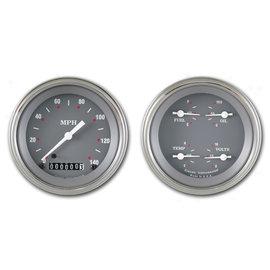 "Classic Instruments 3 3/8"" Speedo & Quad Two Gauge Set - Silver/Gray Series - SG02SLF"