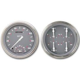 "Classic Instruments 2 Gauge Set - 4 5/8"" Speedtachular & Quad - Silver/Gray Series - SG62SLF"