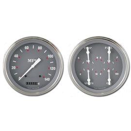 "Classic Instruments 4 5/8"" Speedo & Quad Two Gauge Set - Silver/Gray Series - SG52SLF"