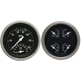 "Classic Instruments 3 3/8"" Ultimate Speedo & Quad Two Gauge Set - Traditional Series - TR32SLF"