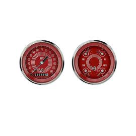 "Classic Instruments 2 Gauge Set - 3 3/8"" Speedo & Quad - V8 Red Steelie Series - V8RS02SHC"