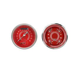 """Classic Instruments 2 Gauge Set - 3 3/8"""" Ultimate Speedo & Quad - V8 Red Steelie Series - V8RS32SHC"""