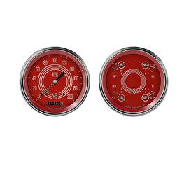 """Classic Instruments 2 Gauge Set - 4 5/8"""" Speedo & Quad - V8 Red Steelie Series - V8RS52SLC"""
