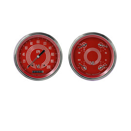 "Classic Instruments 4 5/8"" Speedo & Quad Two Gauge Set - V8 Red Steelie Series - V8RS52SLC"