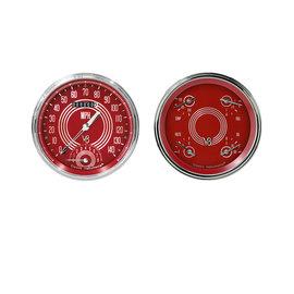 """Classic Instruments 2 Gauge Set - 4 5/8"""" Speedtachular & Quad - V8 Red Steelie Series - V8RS62SLC"""