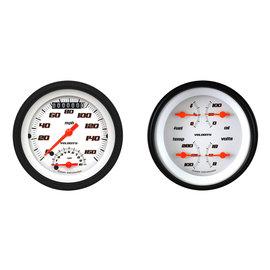"Classic Instruments 3 3/8"" Ultimate Speedo & Quad Two Gauge Set - Velocity White Series - VS32WBLF"
