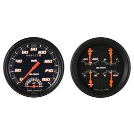 "Classic Instruments 2 Gauge Set - 4 5/8"" Speedtachular & Quad - Velocity Black Series - VS62BBLF"