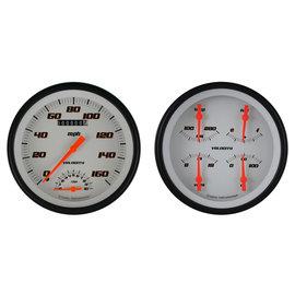 "Classic Instruments 4 5/8"" Speedtachular & Quad Two Gauge Set - Velocity White Series - VS62WBLF"
