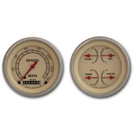 "Classic Instruments 2 Gauge Set - 3 3/8"" Speedo & Quad - Vintage Series - VT02SLF"