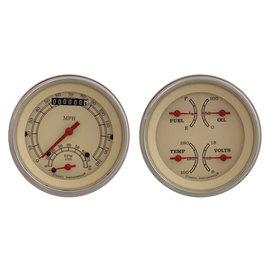 "Classic Instruments 2 Gauge Set - 3 3/8"" Ultimate Speedo & Quad - Vintage Series - VT32SLF"