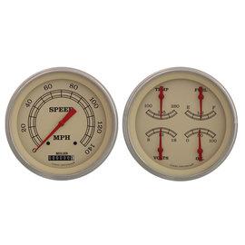 "Classic Instruments 4 5/8"" Speedo & Quad Two Gauge Set - Vintage Series - VT52SLF"
