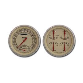 "Classic Instruments 2 Gauge Set - 4 5/8"" Speedtachular & Quad - Vintage Series - VT62SLF"
