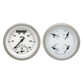 "Classic Instruments 2 Gauge Set - 3 3/8"" Ultimate Speedo & Quad - White Hot Series - WH32SLF"