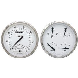 "Classic Instruments 2 Gauge Set - 4 5/8"" Speedtachular & Quad - White Hot Series - WH62SLF"