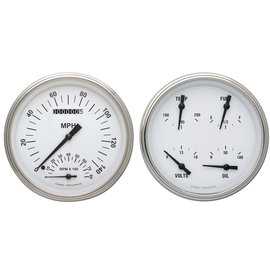 """Classic Instruments 4 5/8"""" Speedtachular & Quad Two Gauge Set - White Hot Series - WH62SLF"""